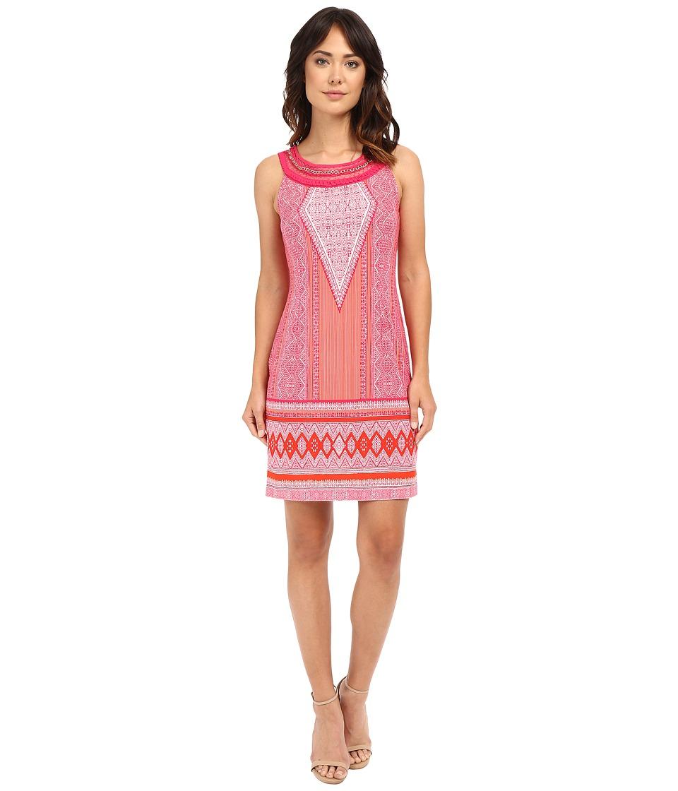 Christin Michaels Daniella Necklace Shift Dress (Pink/Orange) Women