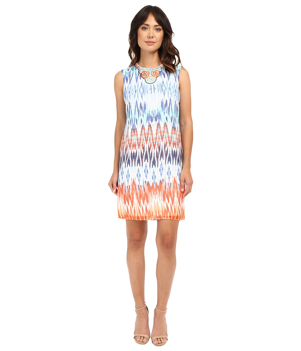 Christin Michaels - Beaded Neck Tribal Dress (Blue Multi) Women's Dress