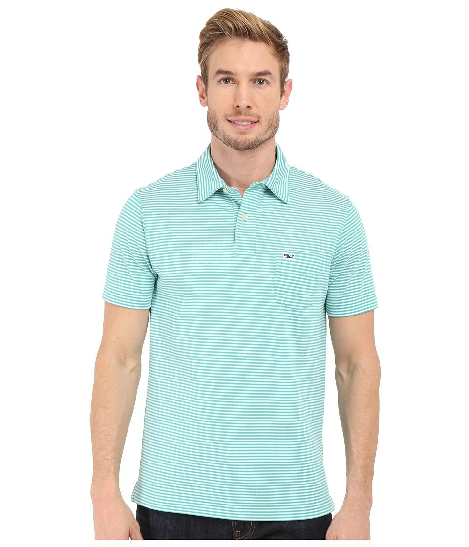 Vineyard Vines - Performance Pique Stripe Polo (Aquinnah Aqua) Men's Short Sleeve Pullover