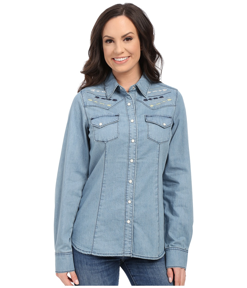 Cruel - Arena Fit Long Sleeve Denim Shirt (Indigo) Women's Clothing