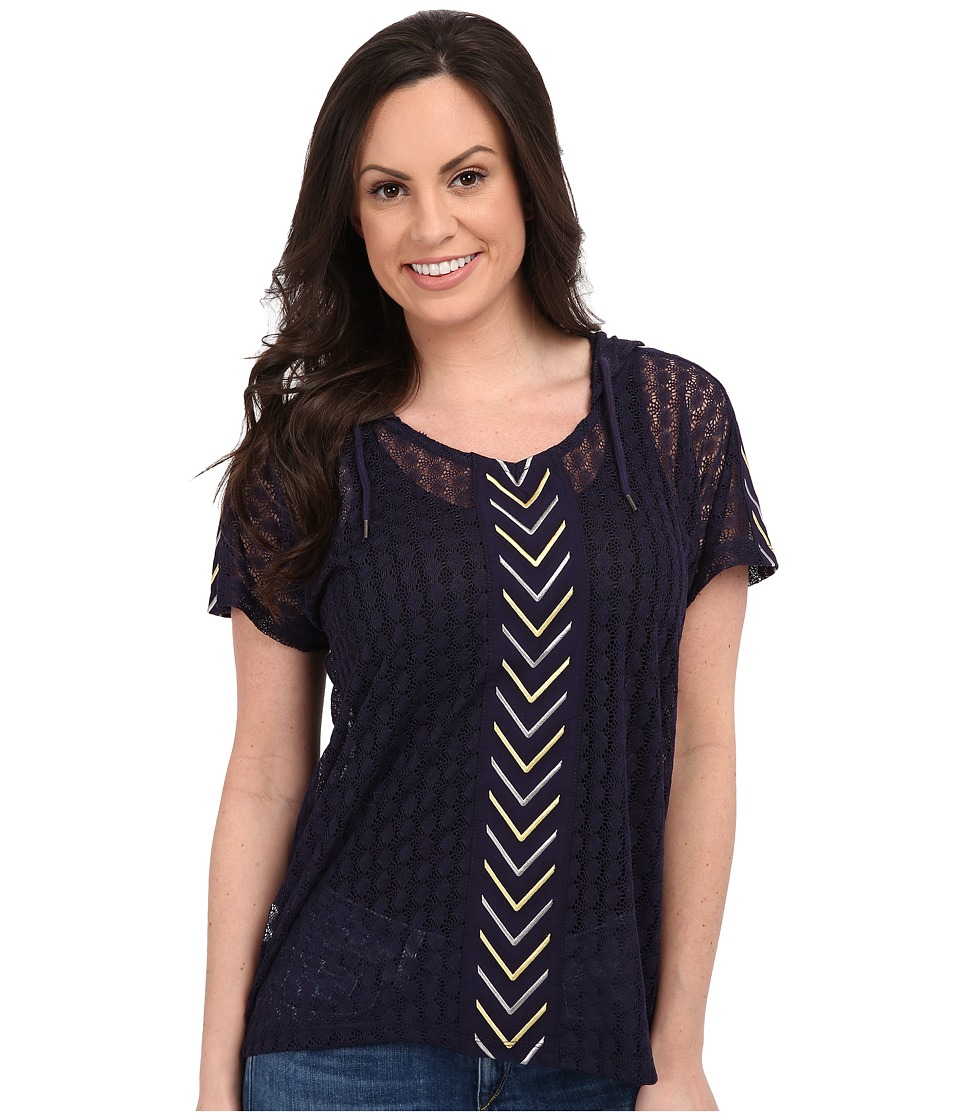 Cruel - Short Sleeve Dolman Top (Navy) Women's Clothing