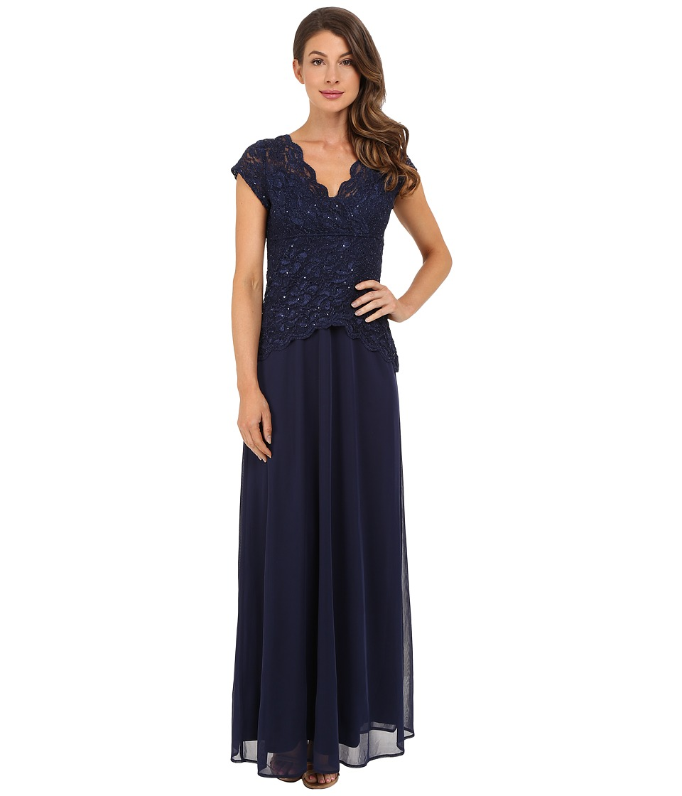 rsvp - Abigail Mock Two-Piece Gown (Navy) Women's Dress