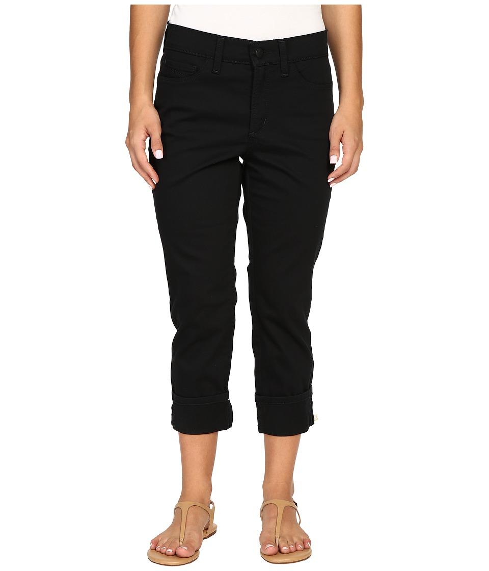 NYDJ Petite - Petite Dayla Wide Cuffed Capri (Black) Women
