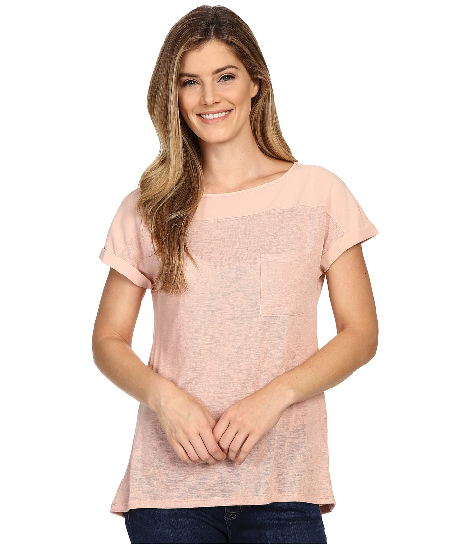 Calvin Klein Jeans - Extended Sleeve Linen Mixed Media Top (Misty Rose) Women's Clothing
