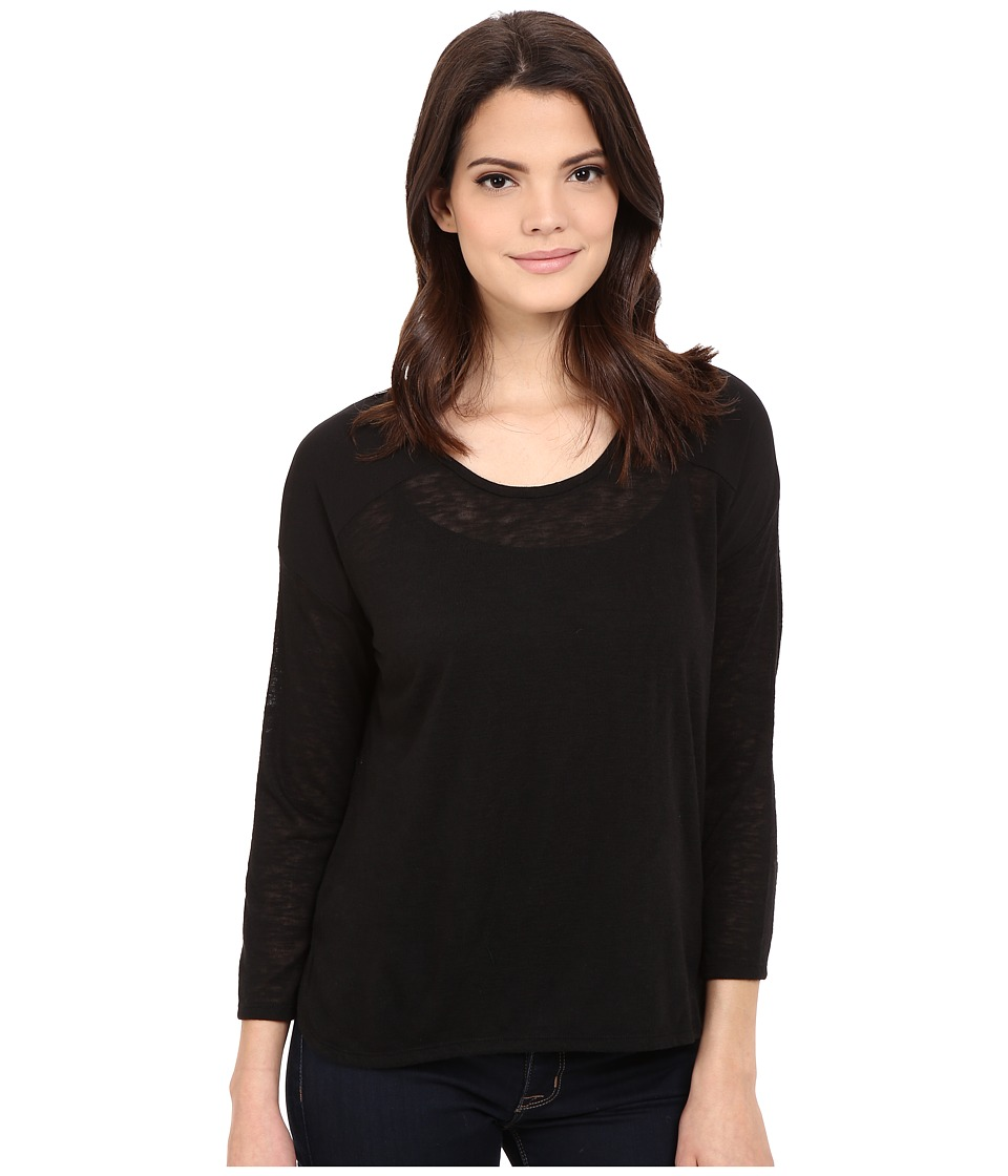 Calvin Klein Jeans - 3/4 Sleeve Mixed Media Top (Black) Women's Clothing