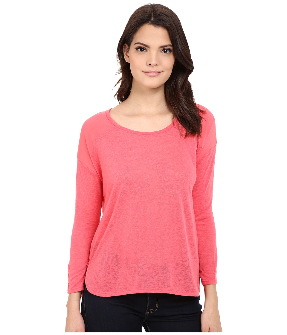 Calvin Klein Jeans - 3/4 Sleeve Mixed Media Top (Watermelon Sorbet) Women's Clothing
