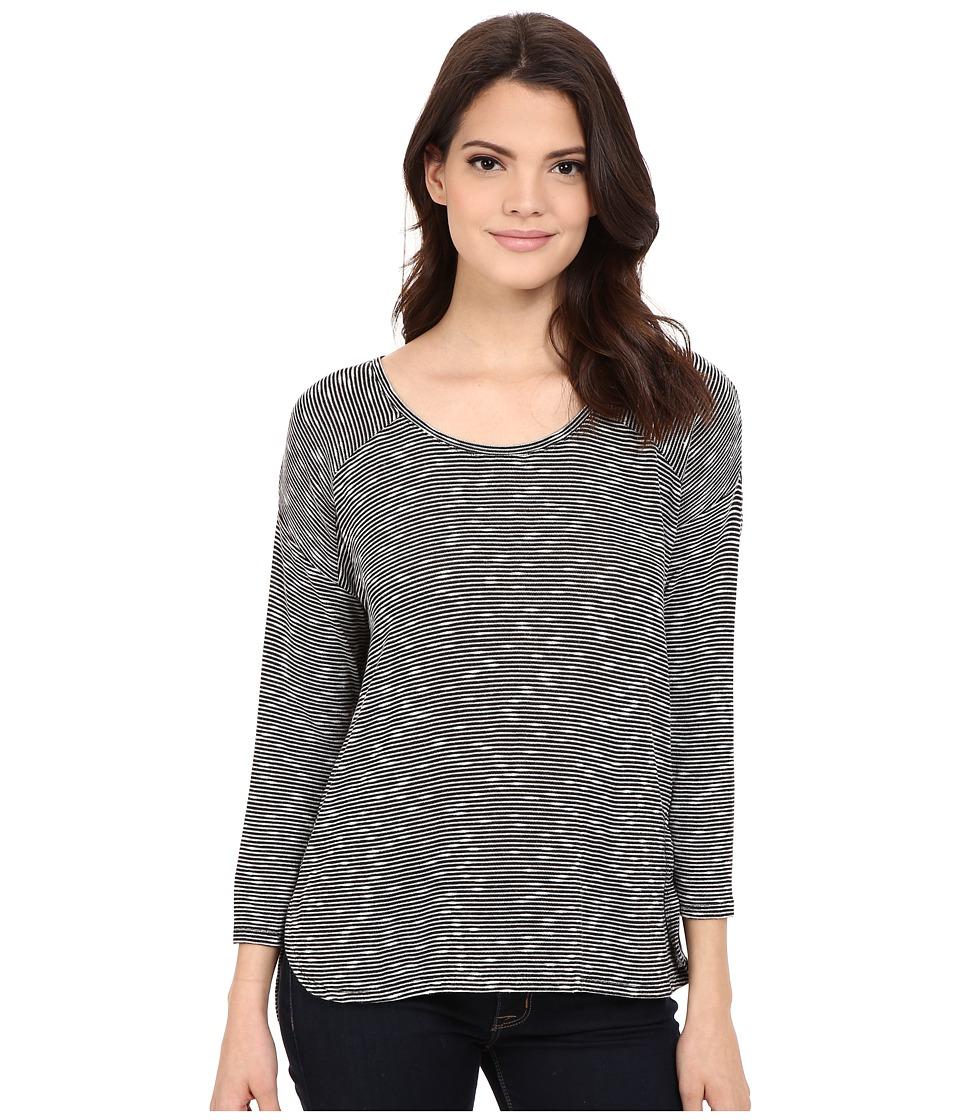 Calvin Klein Jeans 3/4 Sleeve Slub Stripe Tee (Black) Women