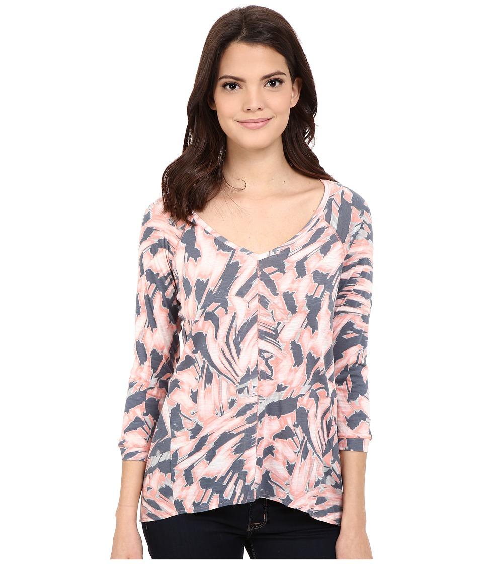 Calvin Klein Jeans - Printed 3/4 Sleeve Slub Tee (Fusion Coral) Women's T Shirt