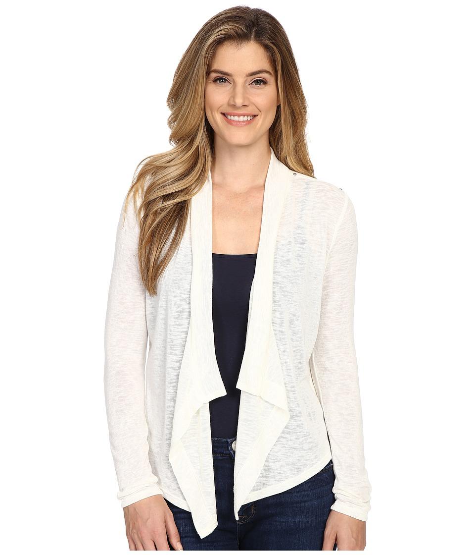 Calvin Klein Jeans - Linen Look Mixed Media Cardigan (Vanilla) Women's Sweater