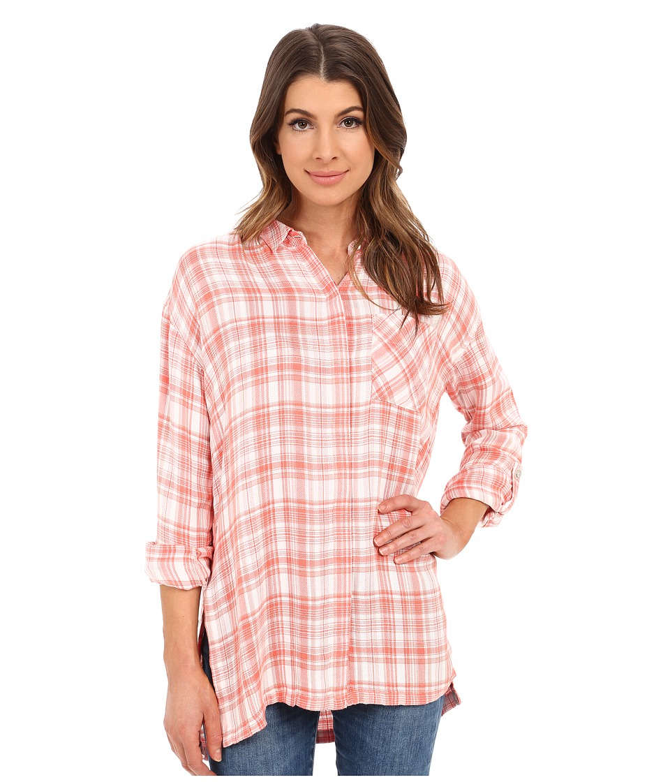 Calvin Klein Jeans - Long Sleeve Plaid Shirt (Gardenia) Women's Clothing