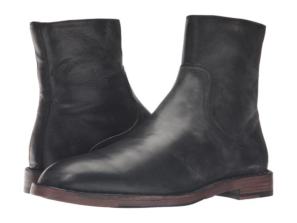 Frye - Mark Inside Zip (Black Tumbled Full Grain) Men's Shoes