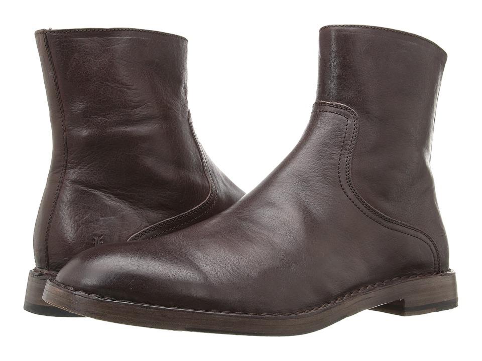 Frye - Mark Inside Zip (Dark Brown Tumbled Full Grain) Men's Shoes