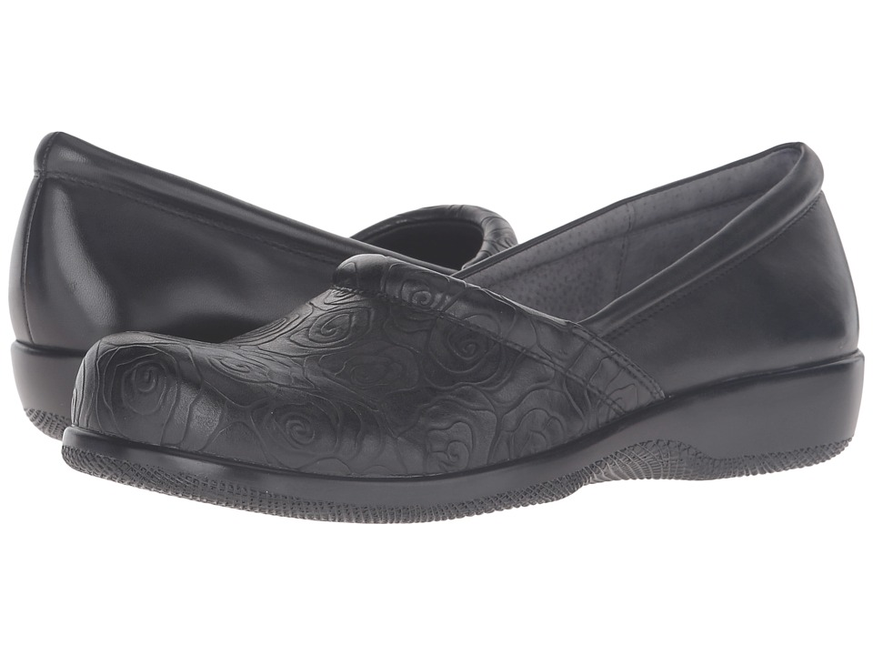 SoftWalk - Adora (Black Rose Embossed/Soft Nappa Leather) Women's Shoes