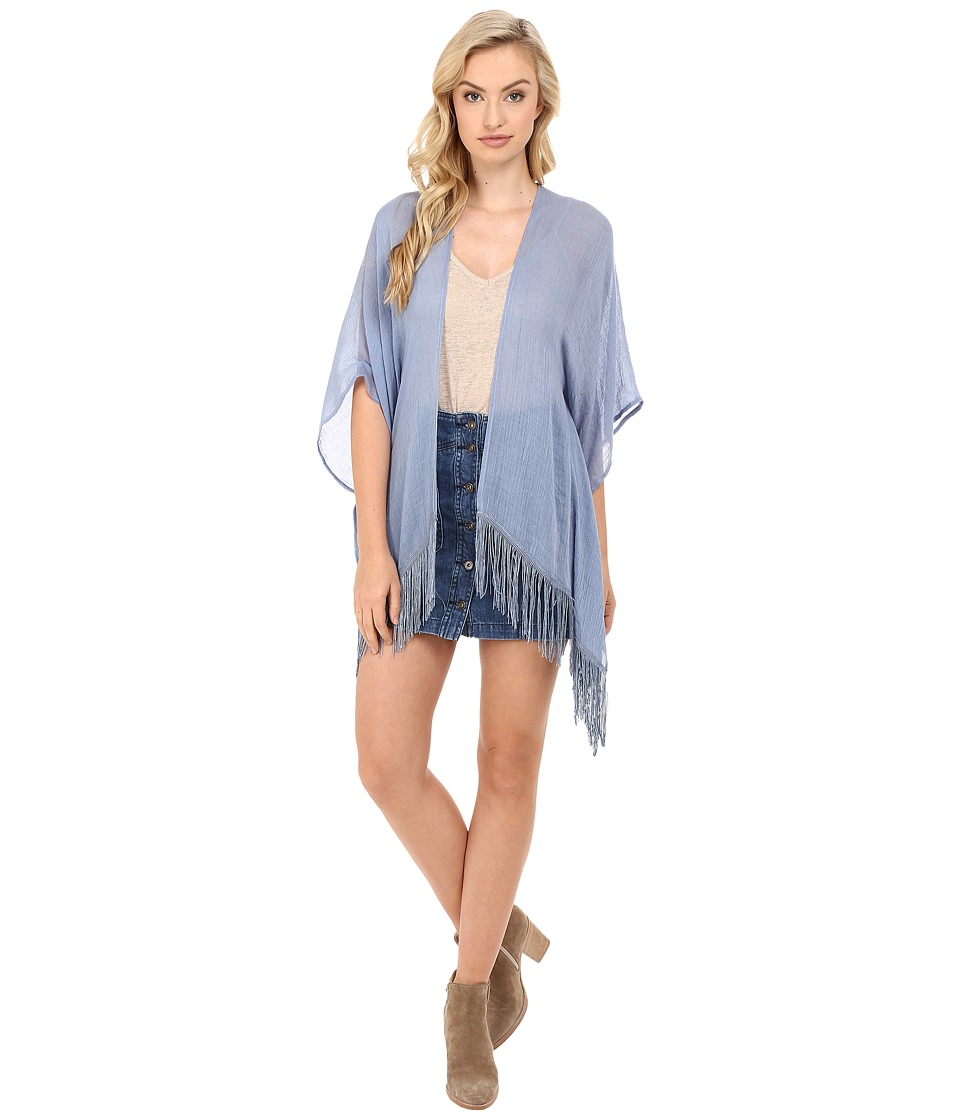 BCBGeneration - Tropic Spirit Solid Kimono (Chambray Blue) Women's Blouse