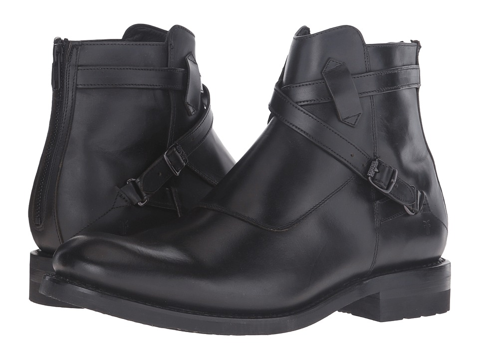 Frye - Stone Cross Strap (Black Smooth Pull-Up) Men's Pull-on Boots
