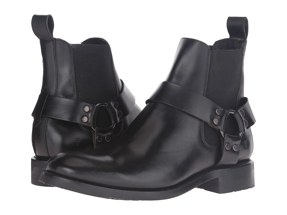 Frye Stone Harness Chelsea (Black Smooth Pull-Up) Men