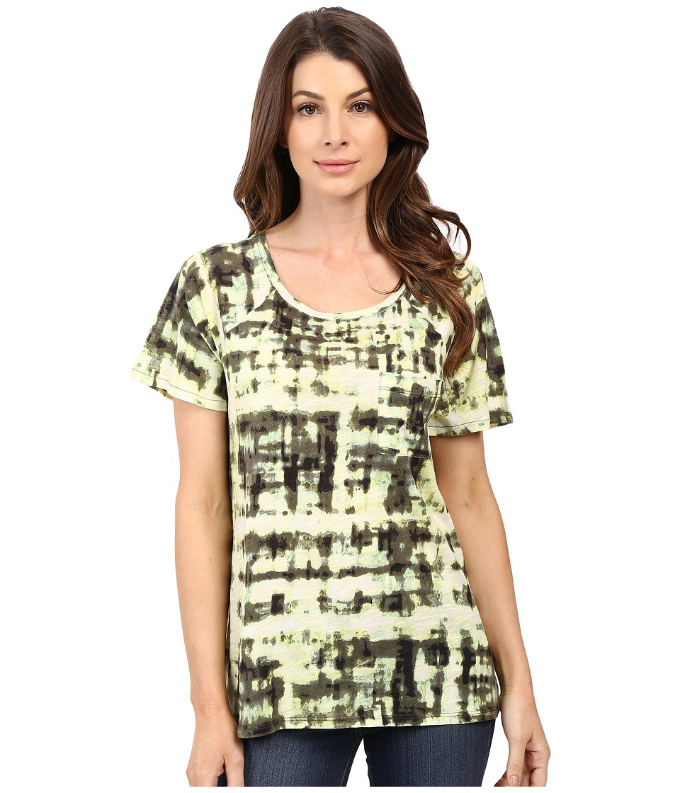 Calvin Klein Jeans - Short Sleeve Abstract Plaid Printed Raglan Slub Tee (Burnt Olive) Women's Clothing