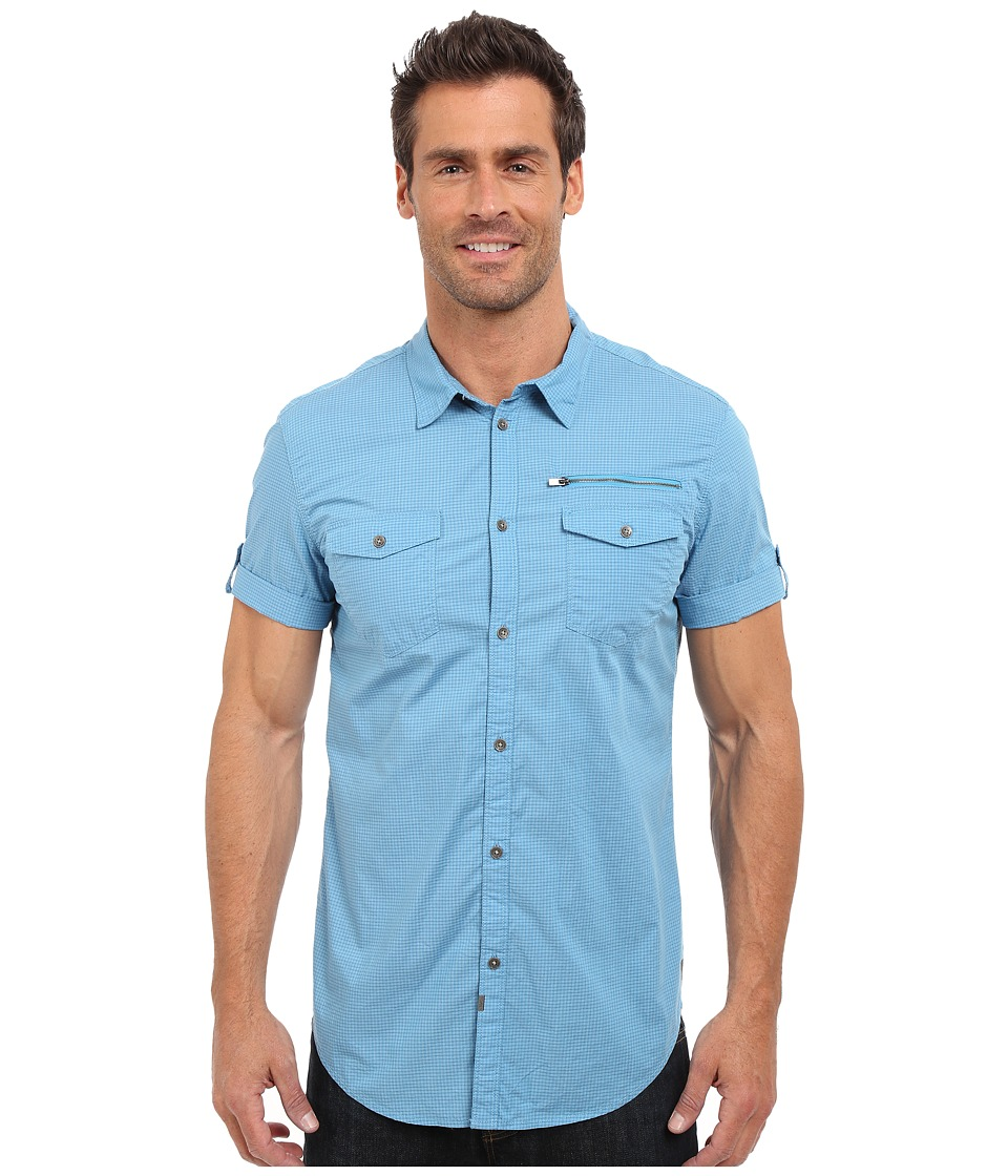 Calvin Klein Jeans - Mini Check Shirt (Ink Blue) Men's Short Sleeve Button Up