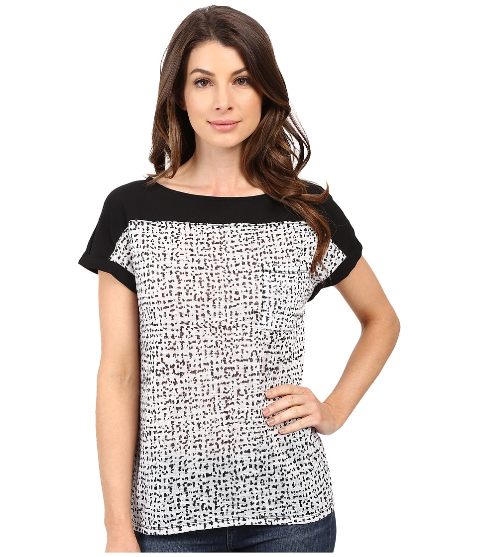 Calvin Klein Jeans - Extended Sleeve Printed Top (Black) Women's Clothing