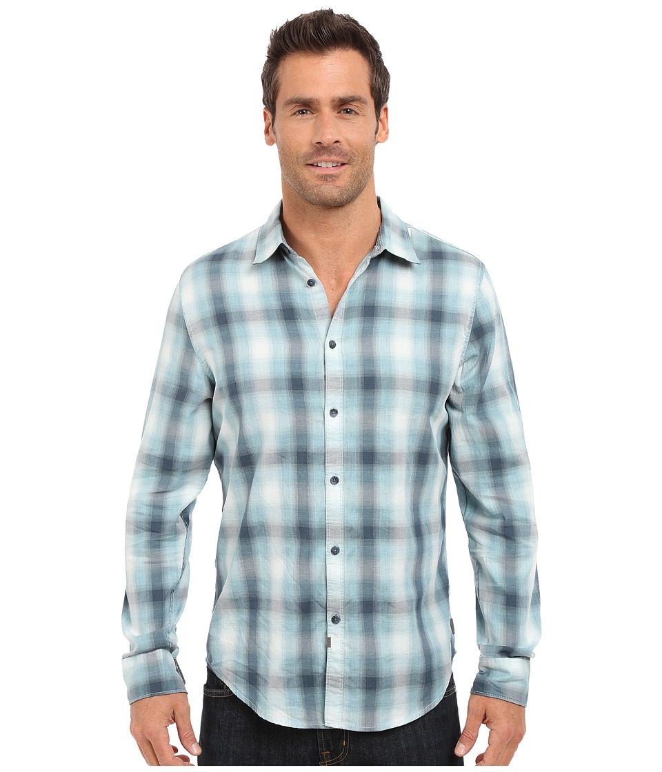 Calvin Klein Jeans - Blurred Ombre Check Shirt (Blue Dusk) Men's Long Sleeve Button Up