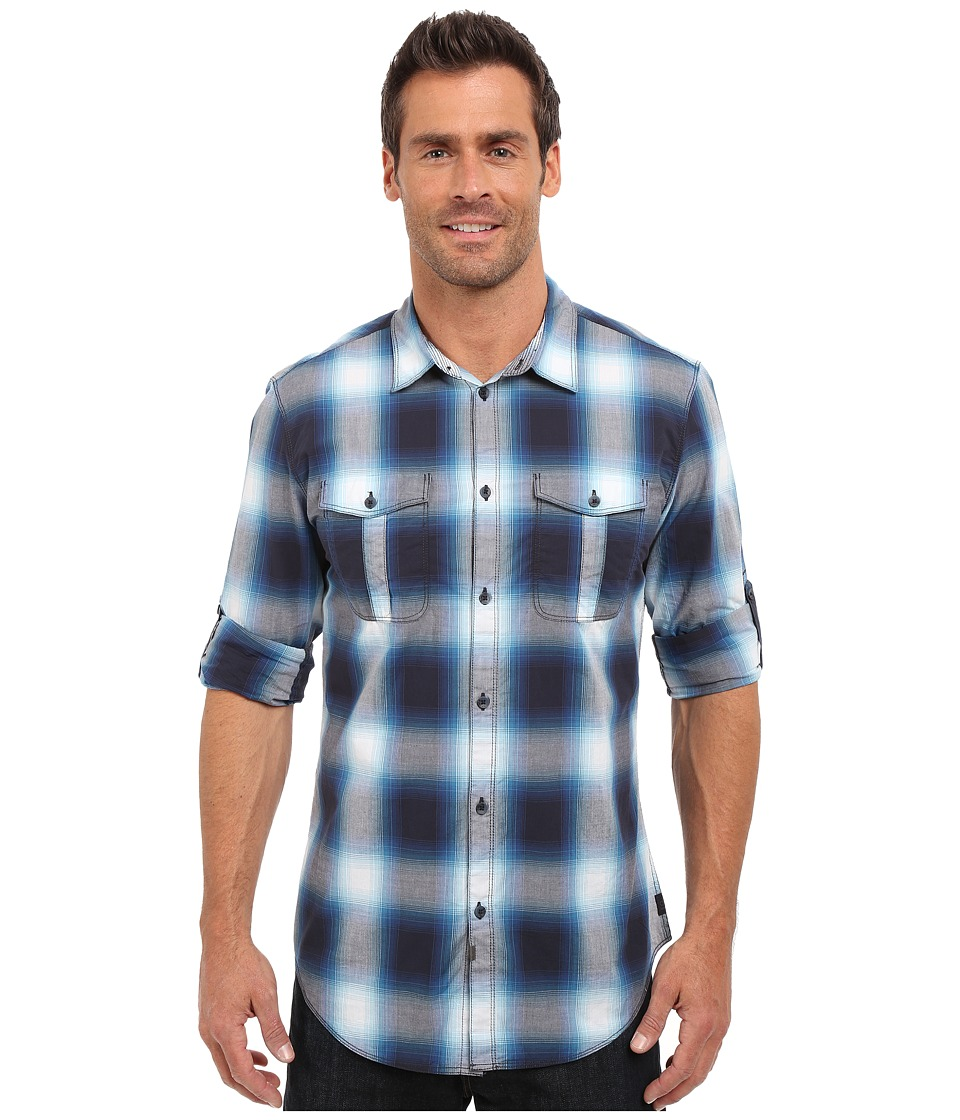 Calvin Klein Jeans - Ombre Glow Check Shirt (Classic Navy) Men's Long Sleeve Button Up