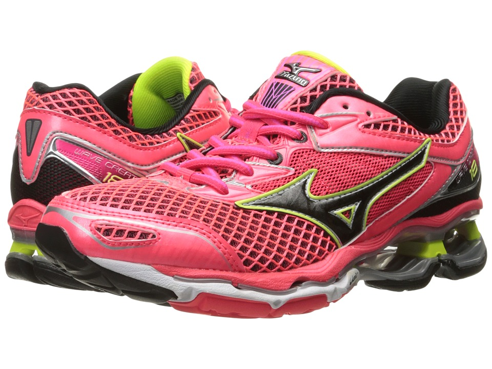 Mizuno - Wave Creation 18 (Diva Pink/Black/Safety Yellow) Women's Running Shoes