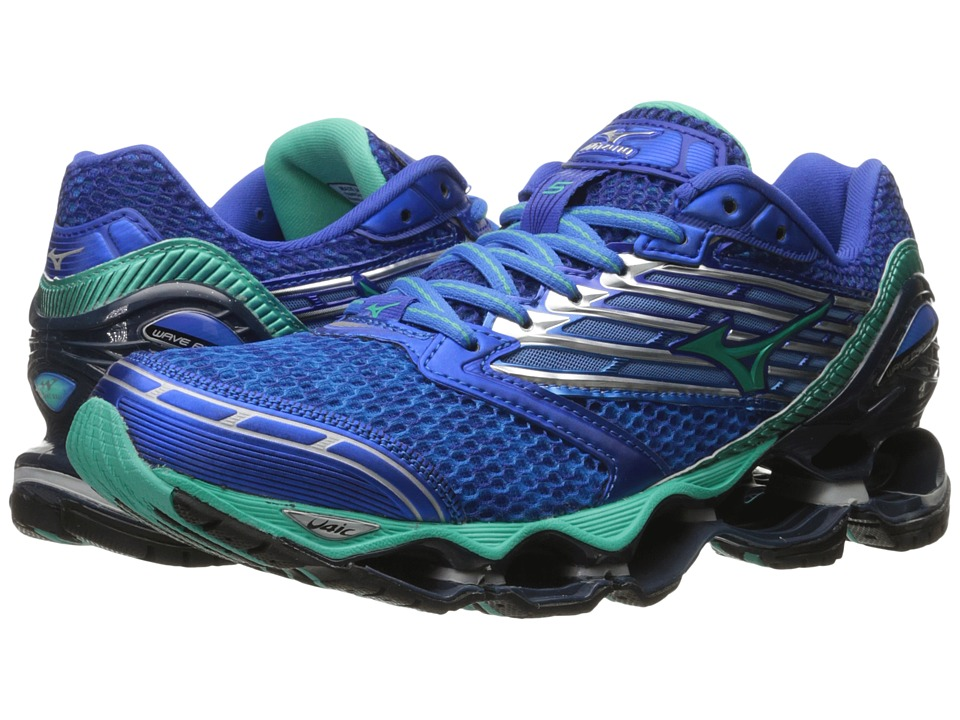 Mizuno - Wave Prophecy 5 (Diva Blue/Electric Green/Dazzling Blue) Women's Running Shoes