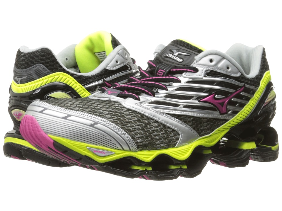 Mizuno - Wave Prophecy 5 (Gunmetal/Fuchsia Purple/Safety Yellow) Women's Running Shoes