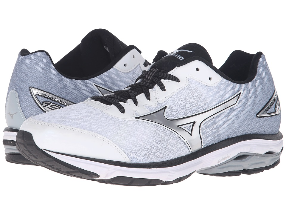 Mizuno - Wave Rider 19 (White/Black/Silver) Men's Running Shoes