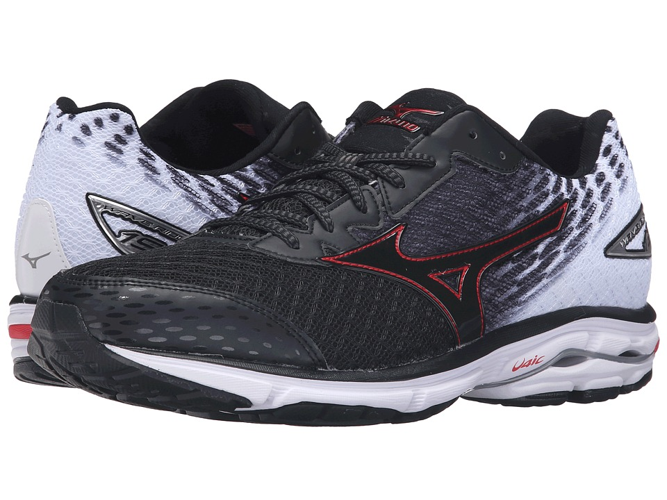 Mizuno - Wave Rider 19 (Black/High Risk Red/White) Men's Running Shoes