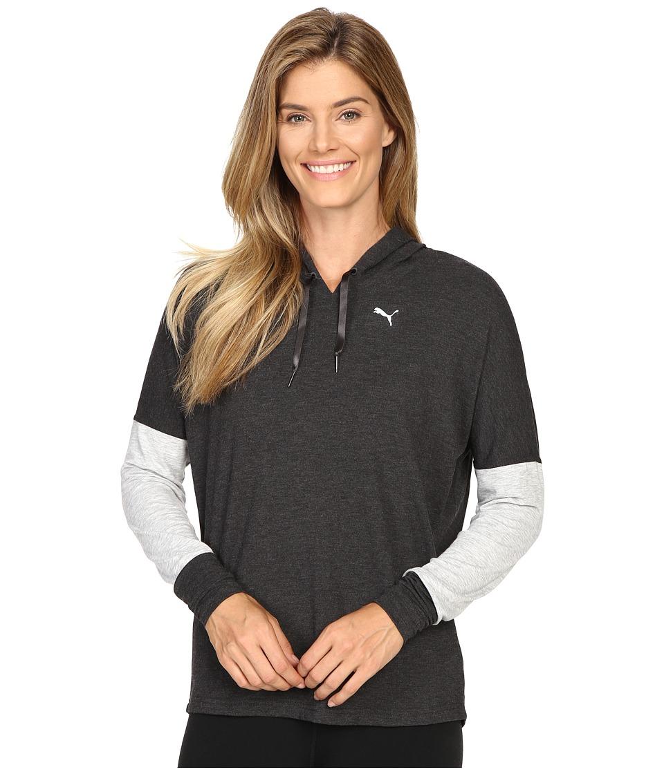 PUMA - Open Back Hoodie (Dark Gray Heather/Light Gray Heather) Women's Sweatshirt