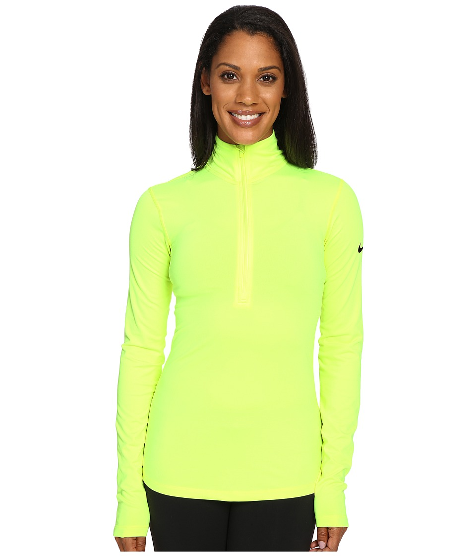 Nike - Pro Long Sleeve Half Zip (Volt/Black) Women's Clothing