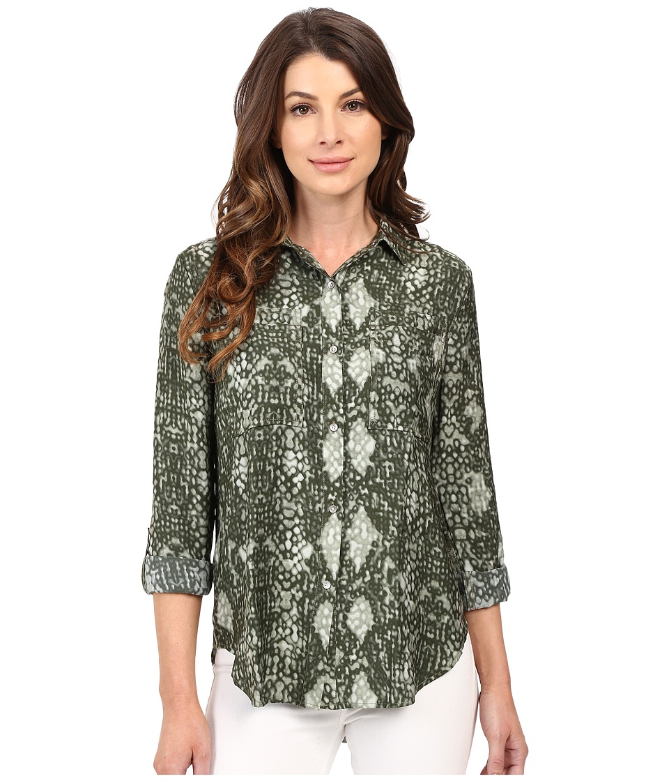 Calvin Klein Jeans - Printed Utility Shirt (Burnt Olive) Women's Clothing