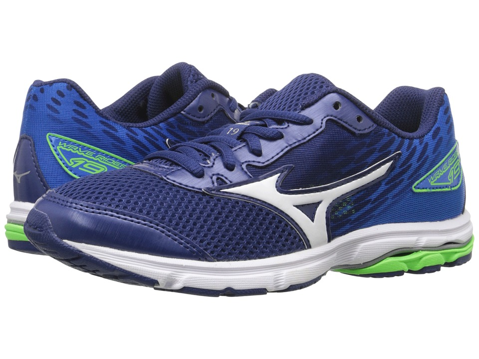 Mizuno Wave Rider 19 (Little Kid/Big Kid) (Twilight Blue/Green Gecko/Silver) Men
