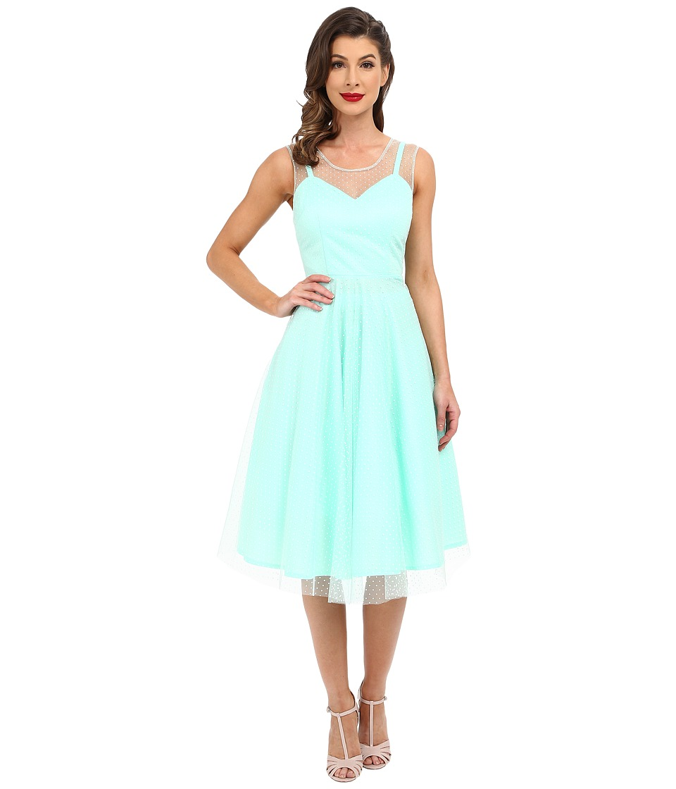 Unique Vintage High Society Mesh Overlay Cocktail Dress (Mint Dot) Women