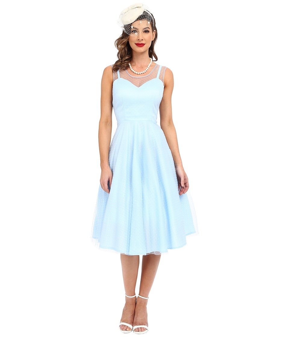 Unique Vintage - High Society Mesh Overlay Cocktail Dress (Blue Dot) Women's Dress