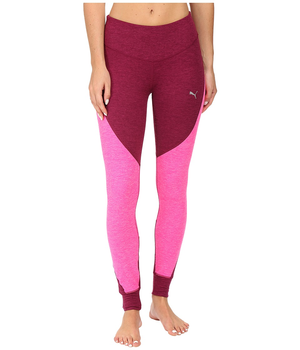 PUMA - Yogini Heather Tights (Magenta Purple Heather/Pink Glo Heather) Women's Workout