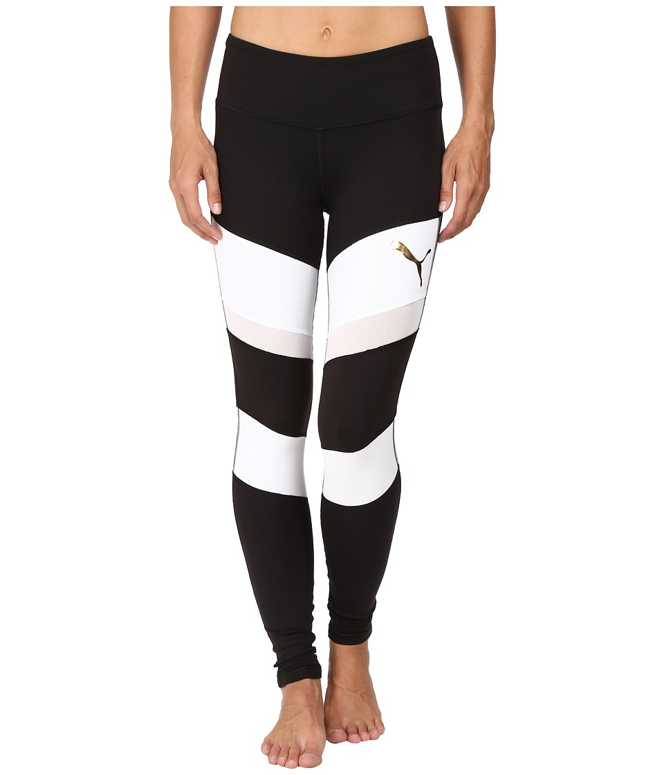 PUMA - Mix Material Tights (Puma Black/Puma White) Women's Casual Pants