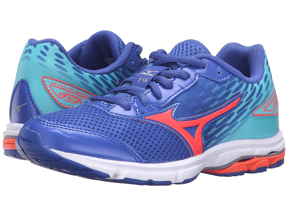 Mizuno - Wave Rider 19 (Little Kid/Big Kid) (Dazzling Blue/White/Capri) Women's Running Shoes