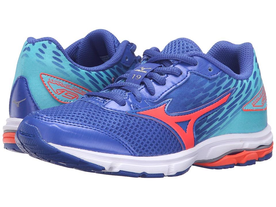 Mizuno - Wave Rider 19 (Little Kid/Big Kid) (Dazzling Blue/White/Capri) Women's Running Shoes