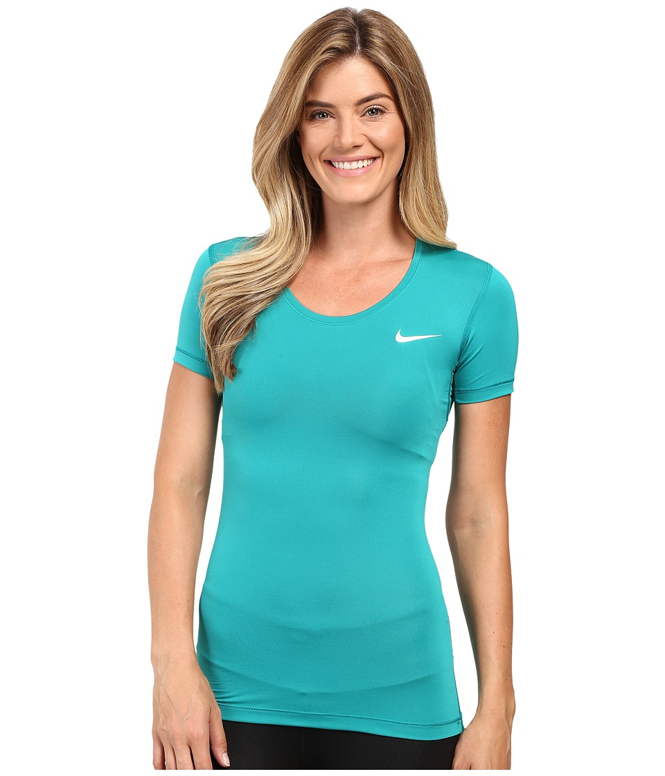Nike - Pro Cool Short Sleeve Shirt (Teal Charge/White) Women's Short Sleeve Pullover