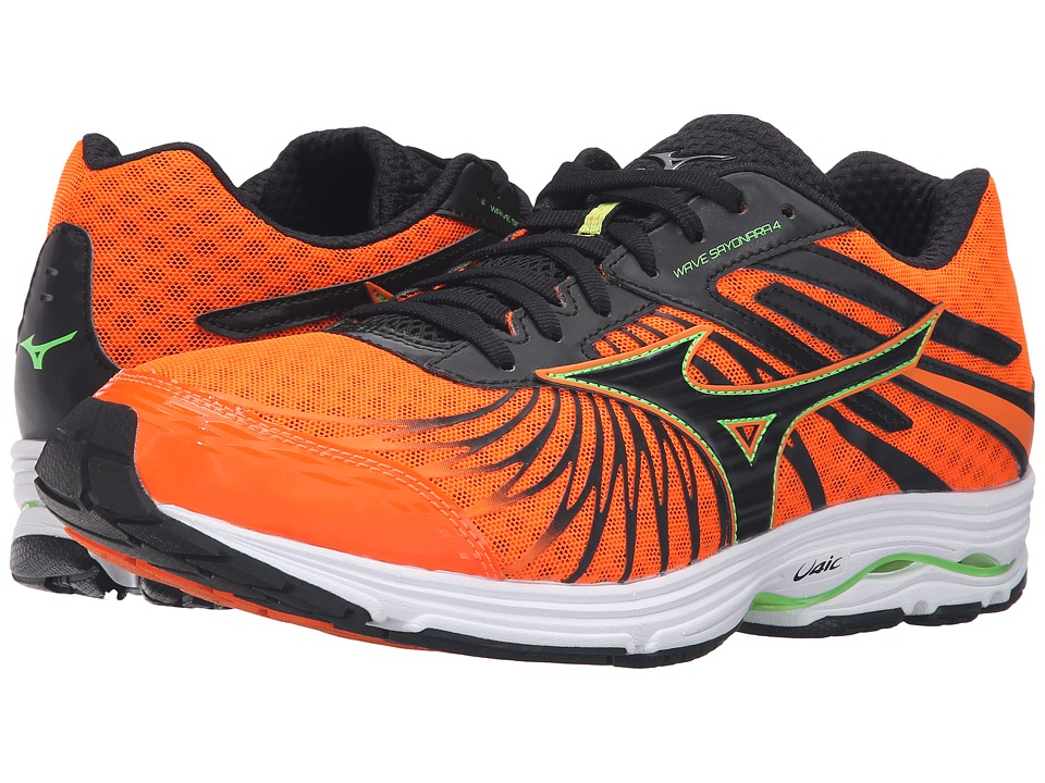 Mizuno - Wave Sayonara 4 (Clownfish/Black/Green Gecko) Men's Running Shoes