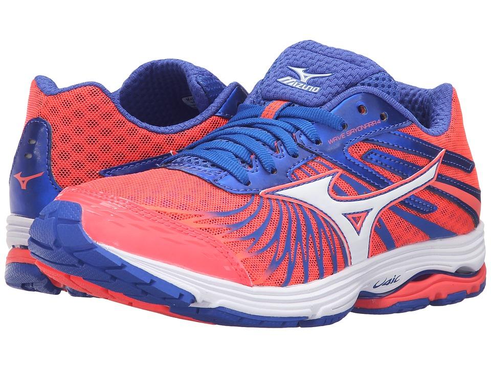 Mizuno - Wave Sayonara 4 (Fiery Coral/Dazzling Blue/White) Women's Running Shoes