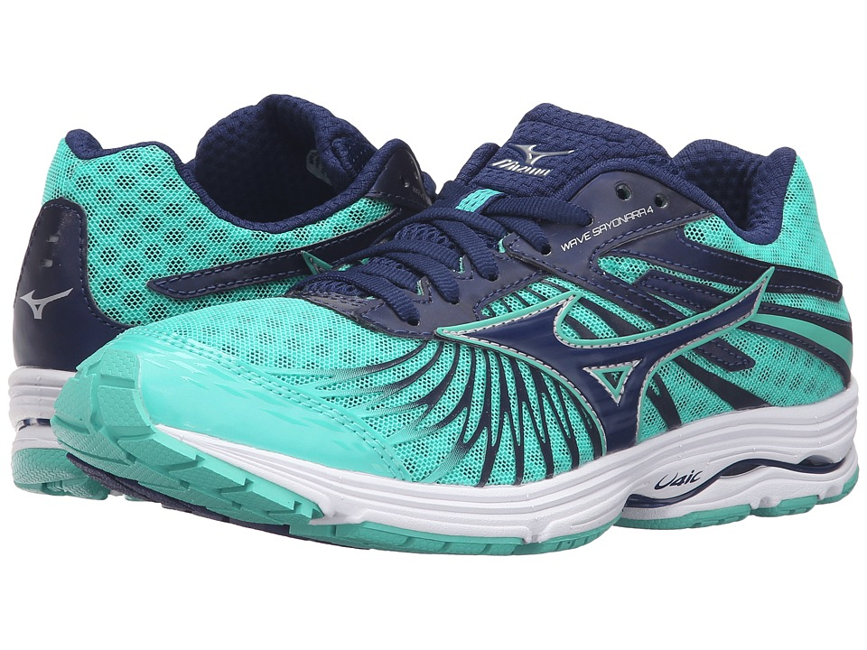 Mizuno - Wave Sayonara 4 (Blue Depths/Electric Green/Silver) Women's Running Shoes