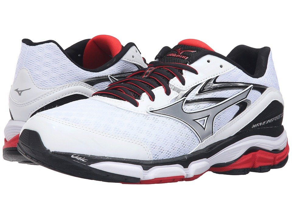 Mizuno - Wave Inspire 12 (White/High Risk Red/Black) Men's Running Shoes