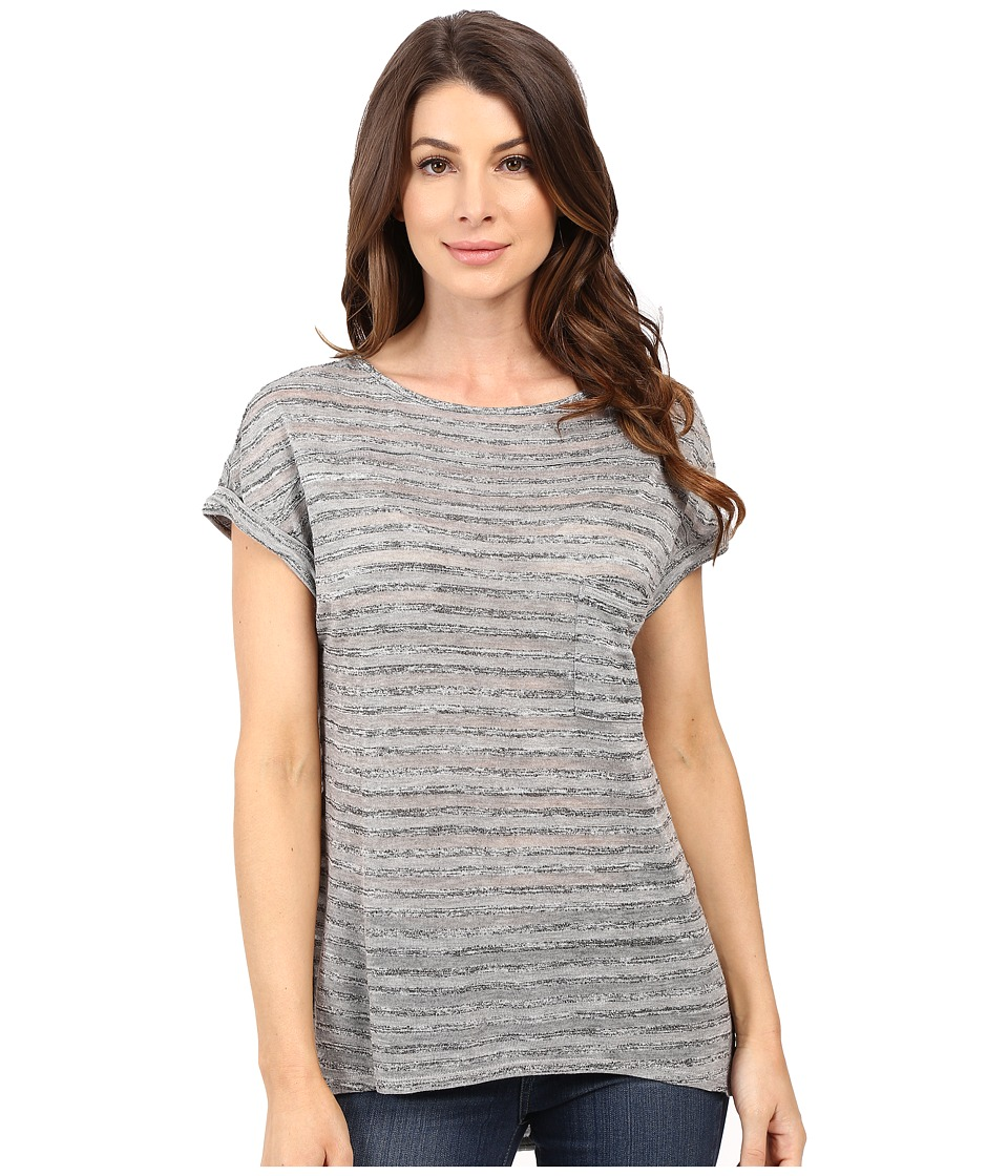 Calvin Klein Jeans - Extended Sleeve Stripe Top (Iron Heather) Women's Clothing