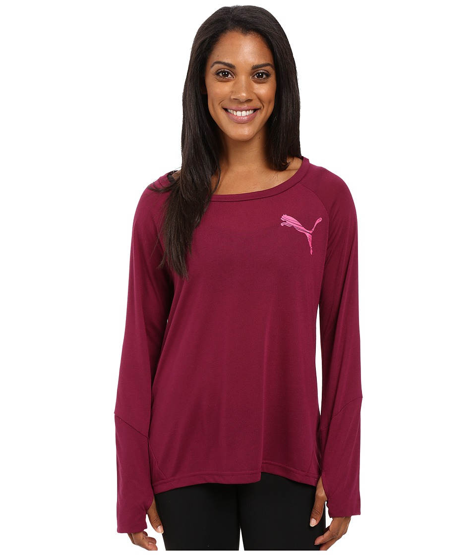 PUMA - Elevated Long Sleeve Top (Magenta Purple) Women's Long Sleeve Pullover