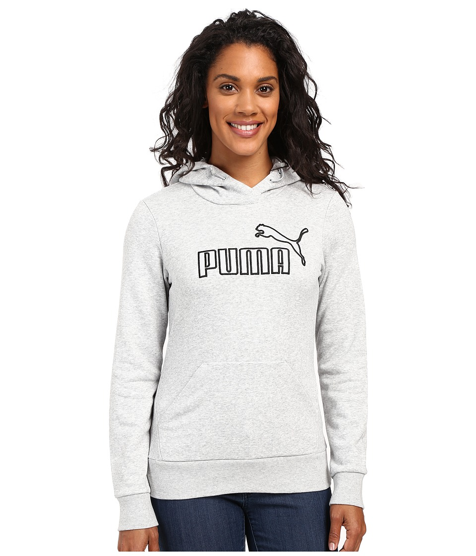 PUMA - Elevated Logo Hoodie (Light Gray Heather) Women's Sweatshirt