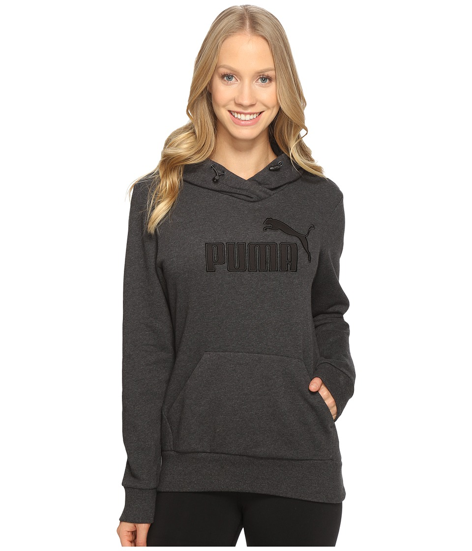 PUMA Elevated Logo Hoodie (Dark Gray Heather) Women