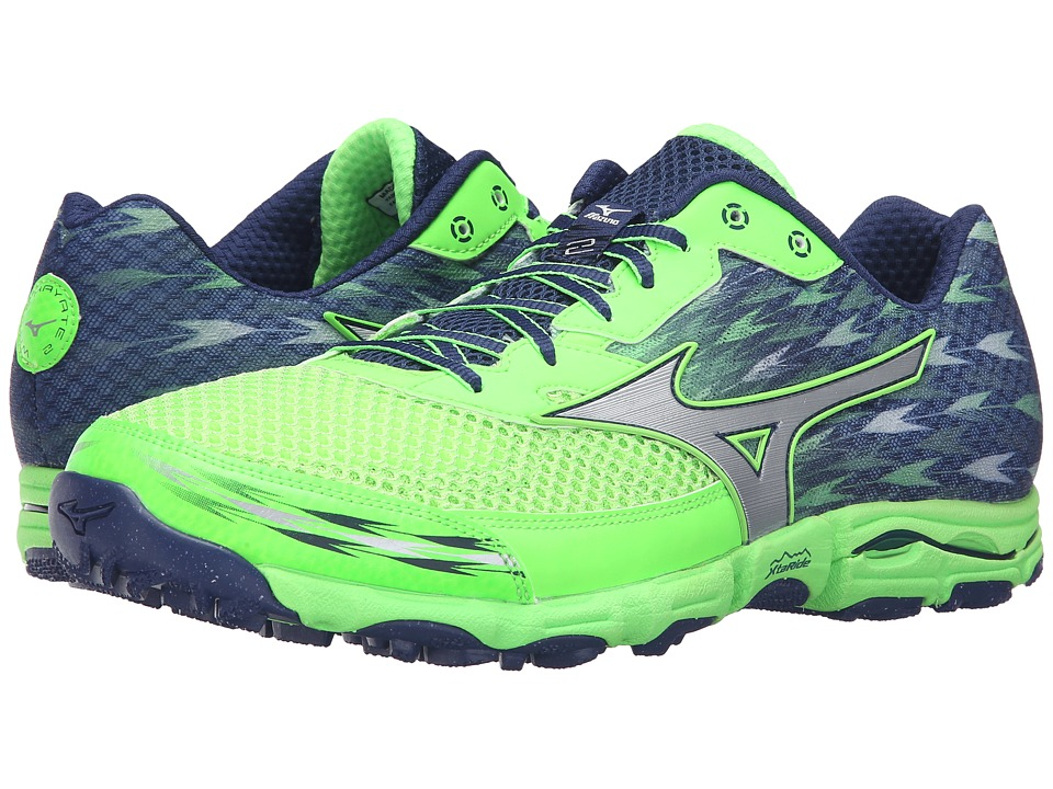 Mizuno - Wave Hayate 2 (Green Gecko/Blue Depths/Silver) Men's Running Shoes